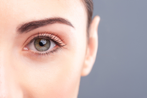 close up of woman's green eye.